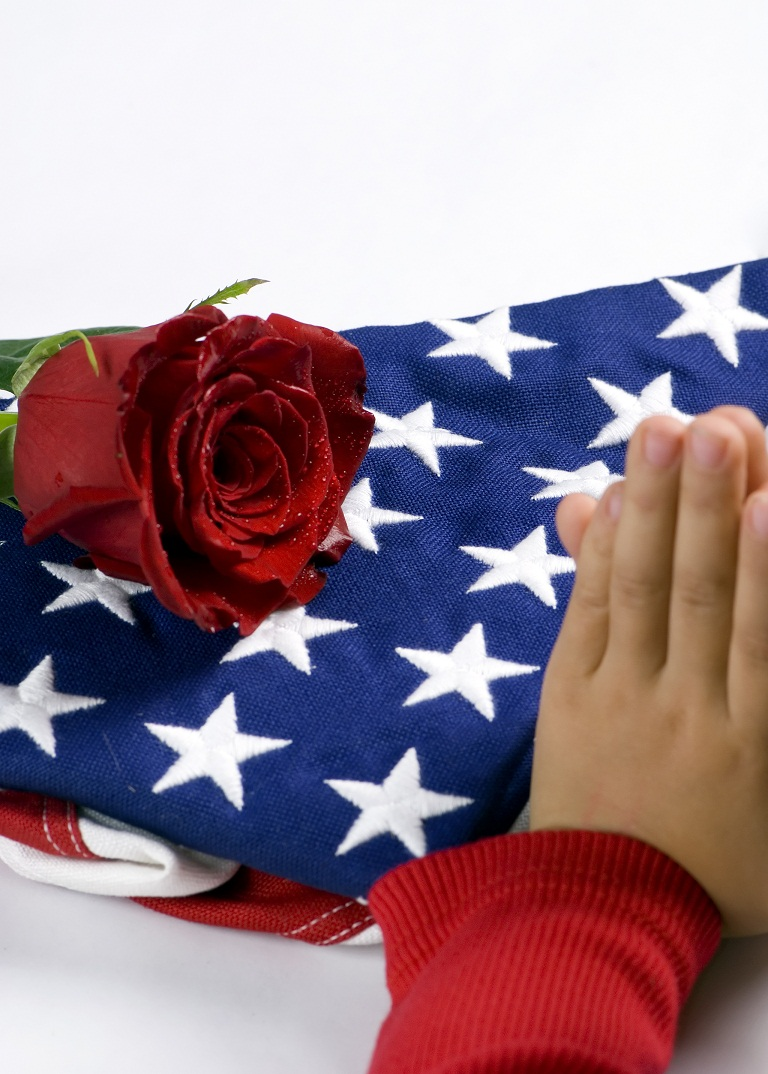American flag and rose