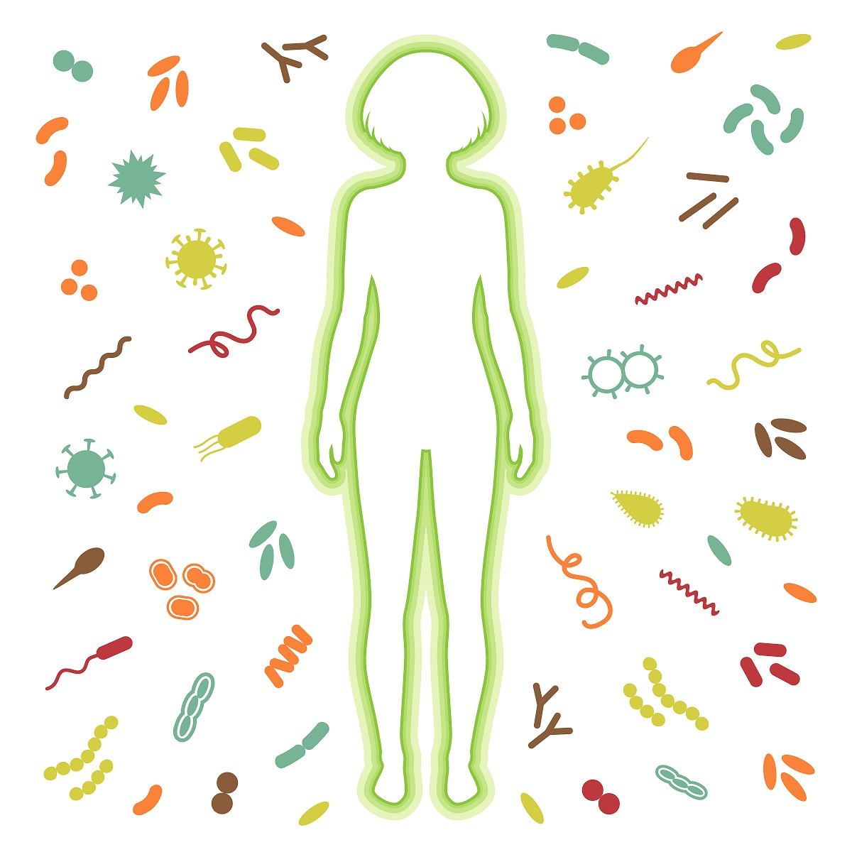 outline of a woman surrounded by microorganisms
