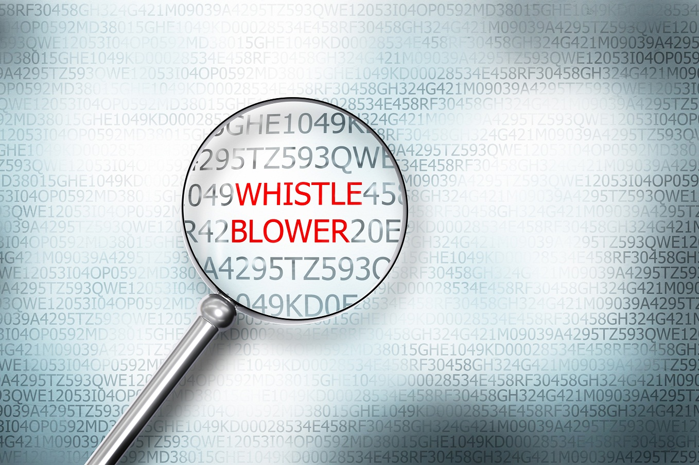 magnifying glass on whistle blower