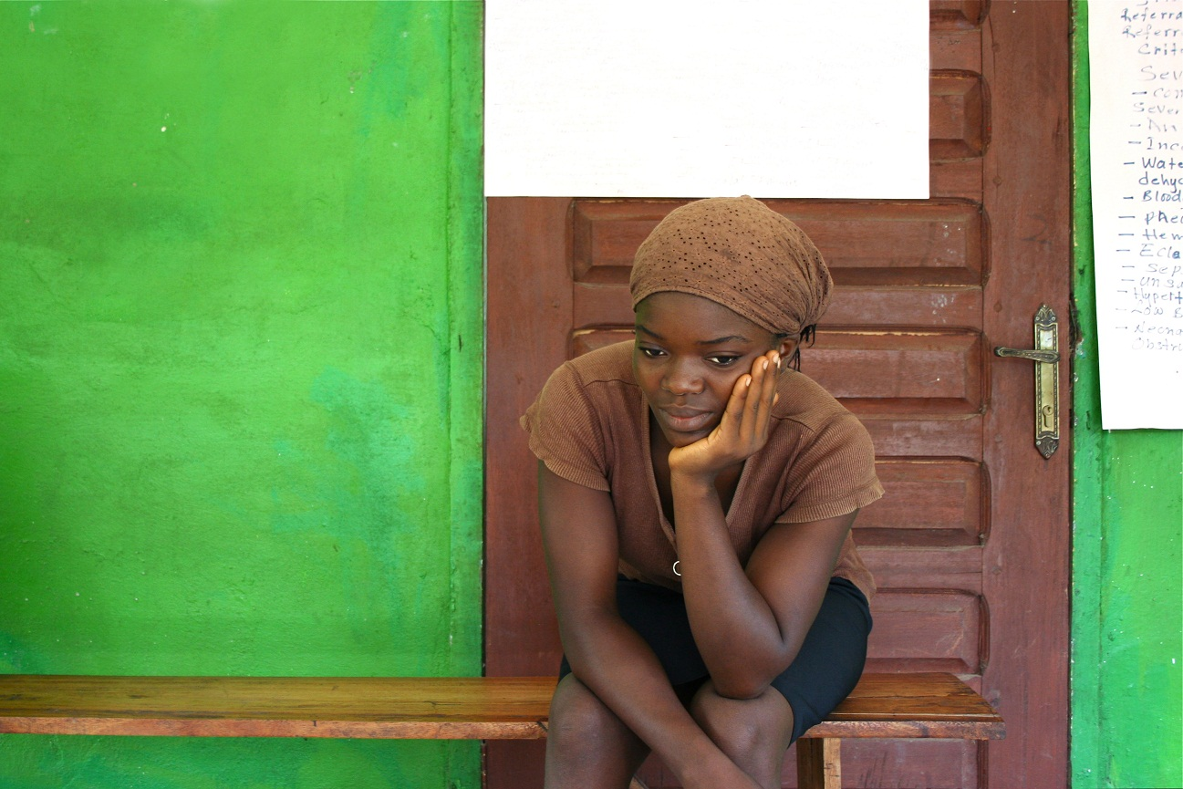 African woman waiting at the clinic