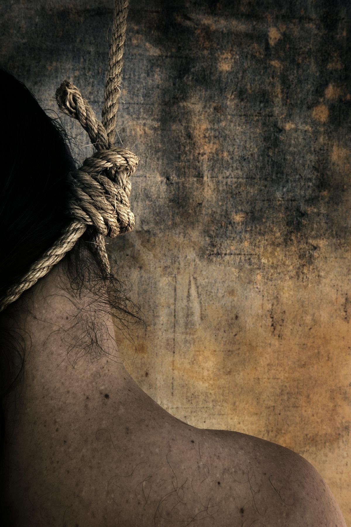 a man hung