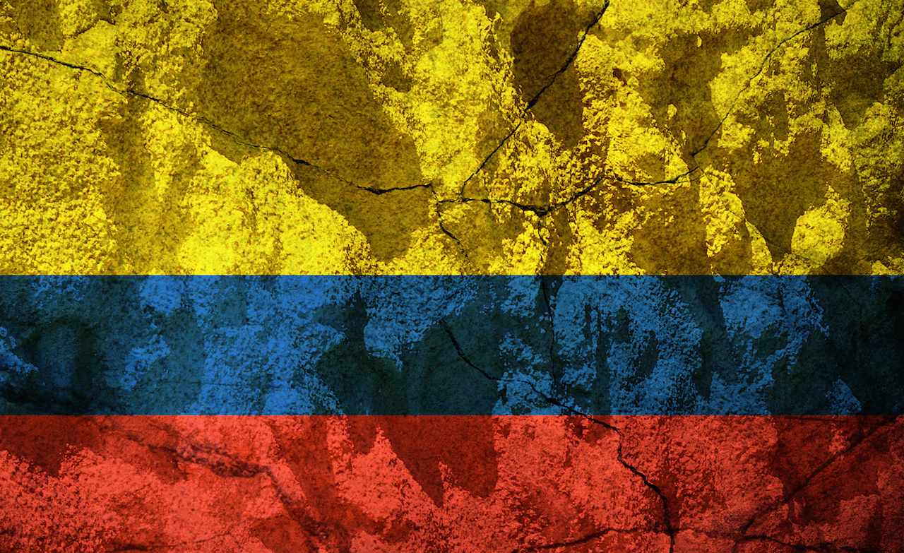 Colombia flag on stone
