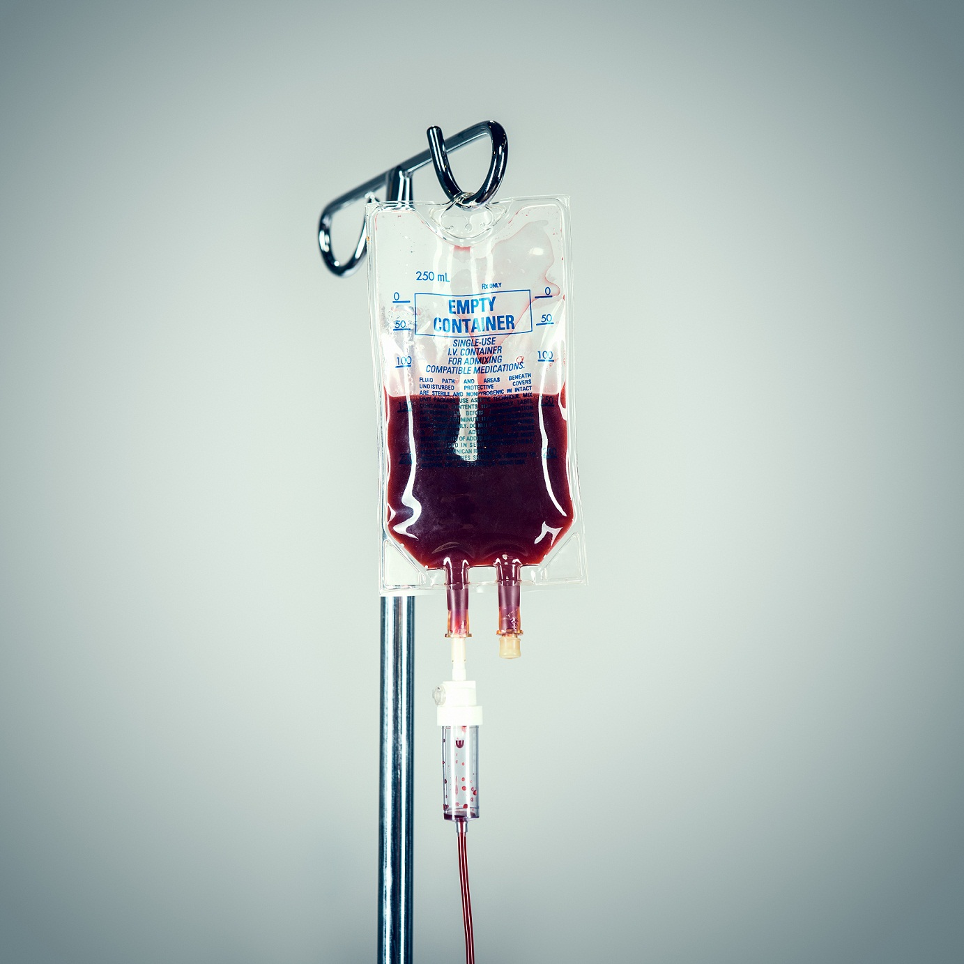 Blood in IV Drip at Hospital