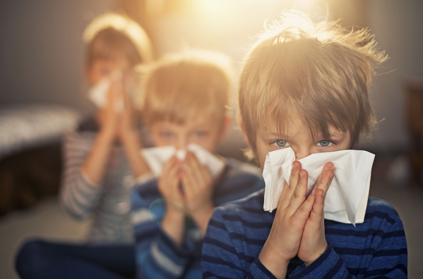 Allergy generation – kids blowing noses