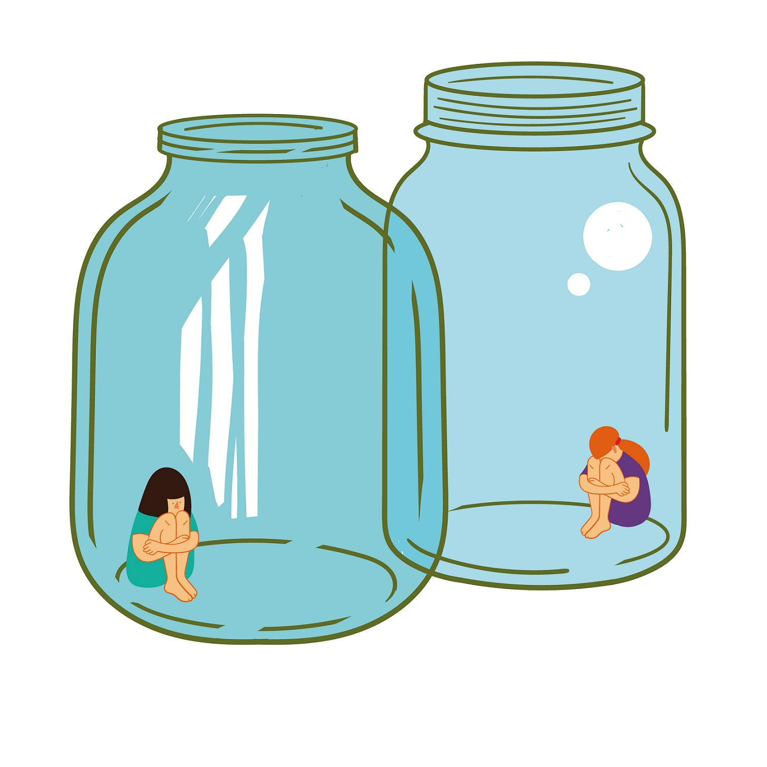 Two glass jars with girls inside
