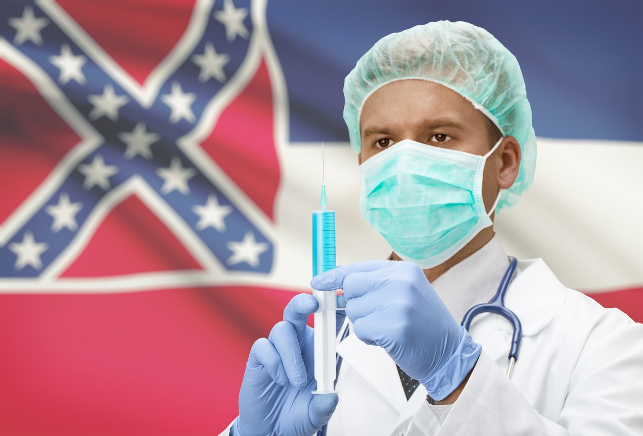 Mississippi flag and doctor holding syringe