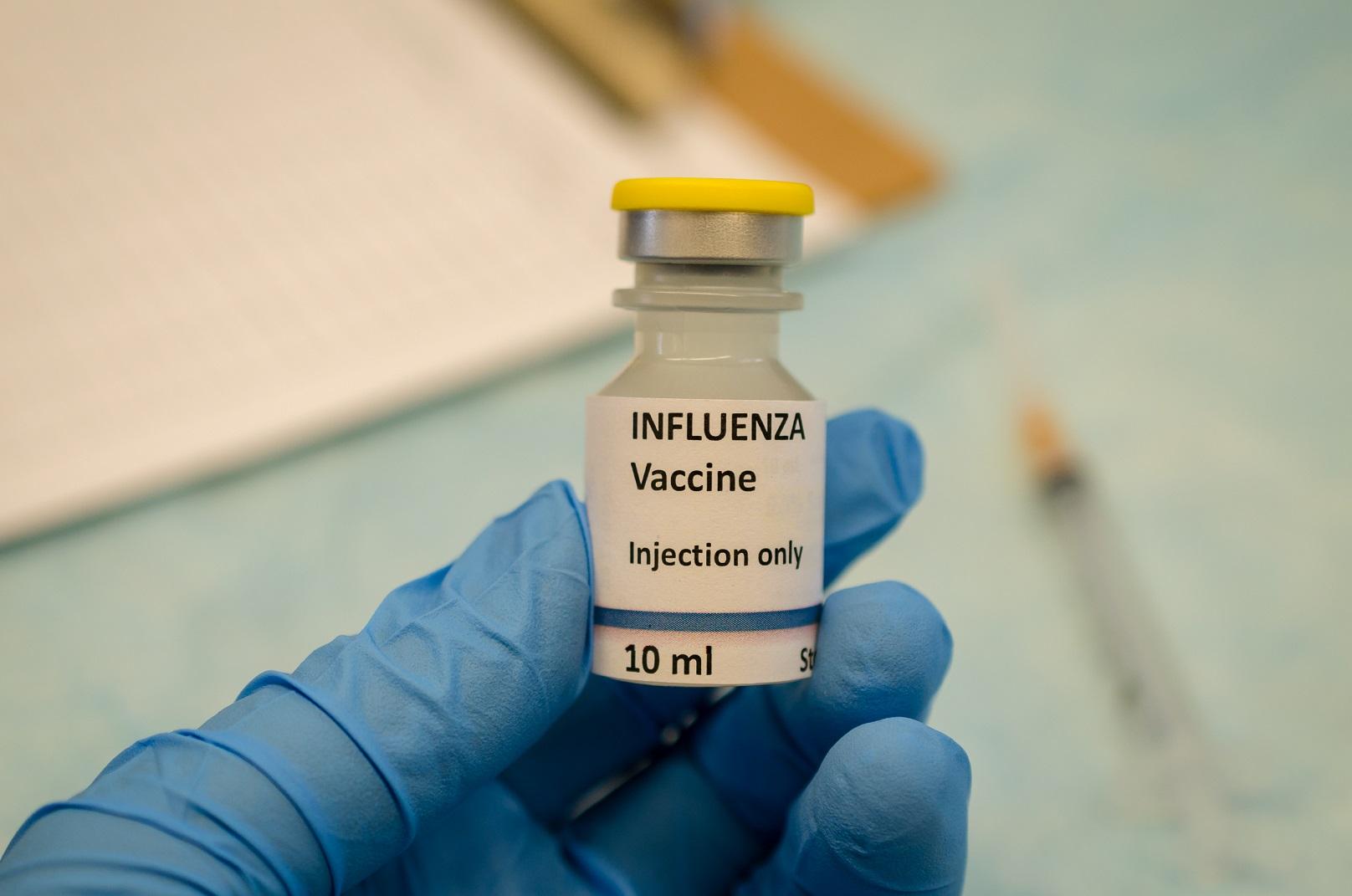 vial of influenza vaccine