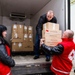 unloading measles vaccines in the Ukraine